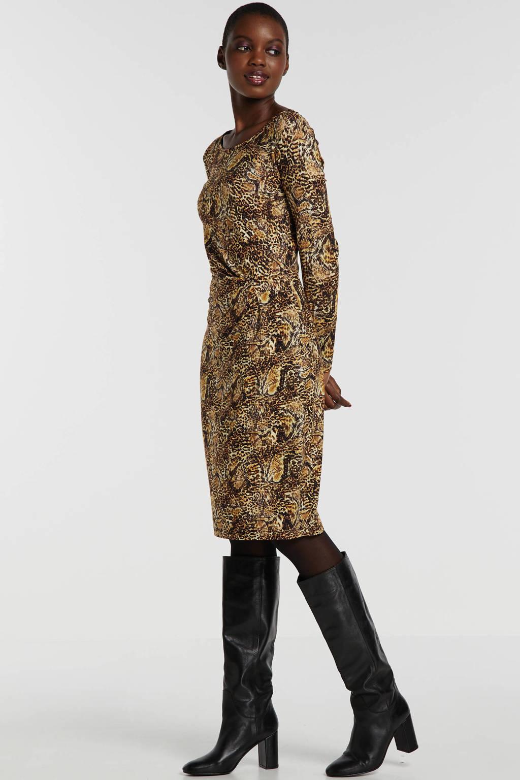 Smashed Lemon jersey jurk met all over print bruin, Bruin