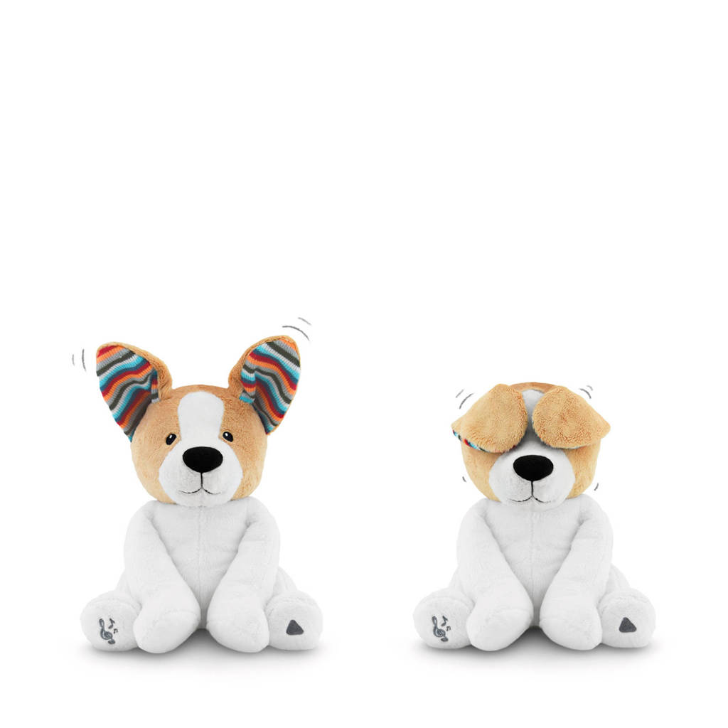 Zazu Danny Peak-a-boo Dog interactieve knuffel, Wit