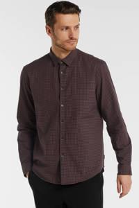 ESPRIT Men Casual regular fit overhemd met all over print donkerrood/zwart, Donkerrood/zwart