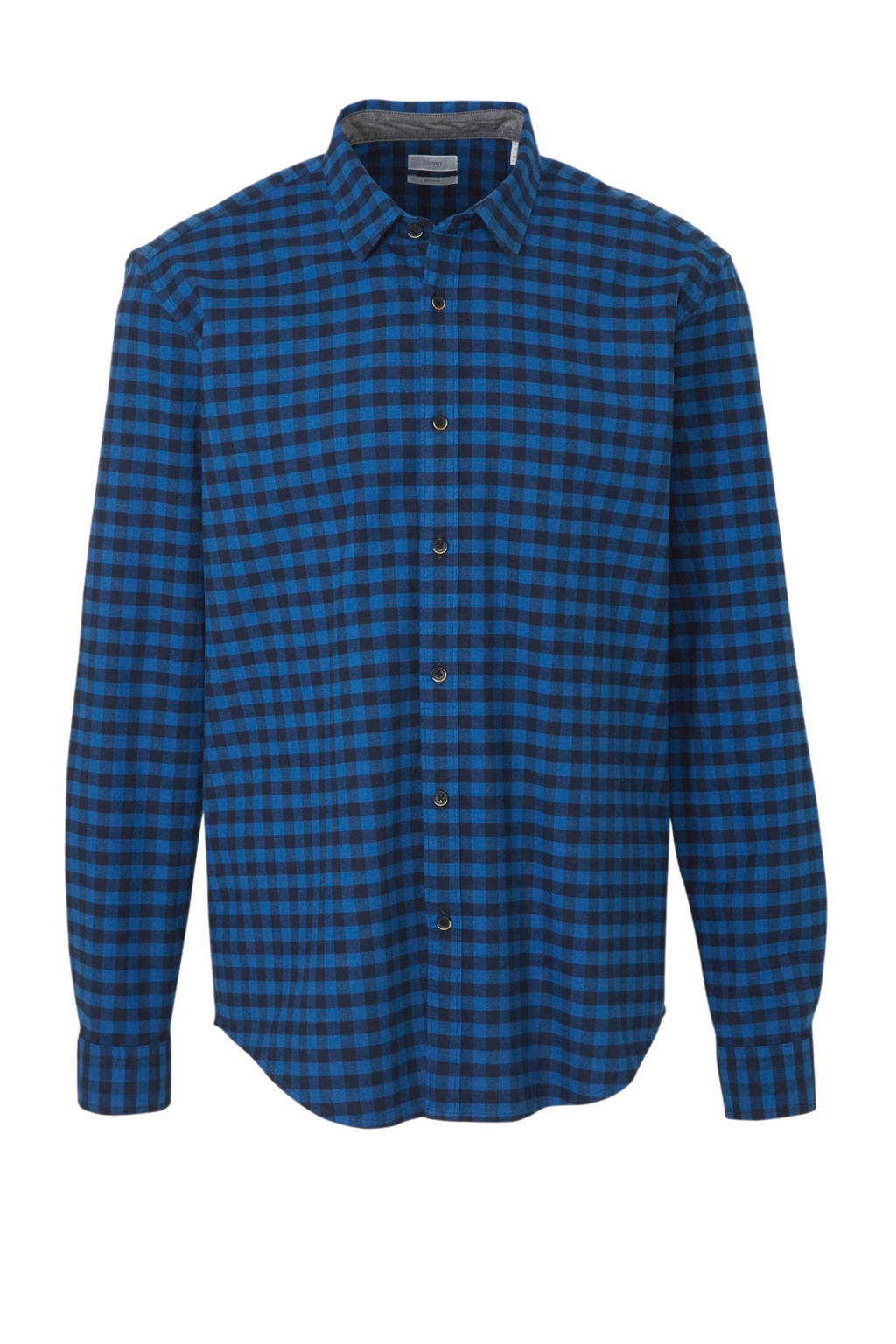 ESPRIT Men Casual regular fit overhemd met all over print blauw/zwart, Blauw/zwart