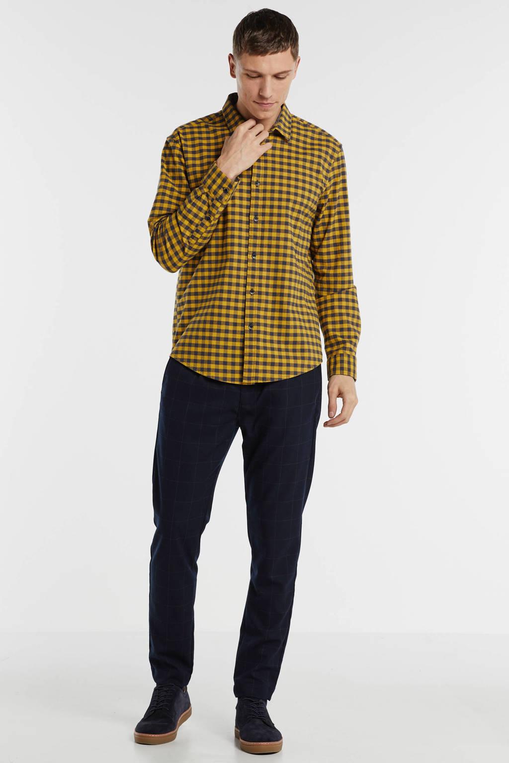 ESPRIT Men Casual geruit regular fit overhemd geel, Geel