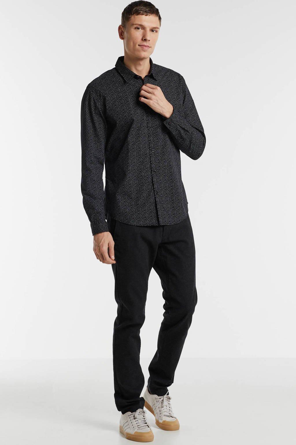 edc Men slim fit overhemd met all over print zwart, Zwart