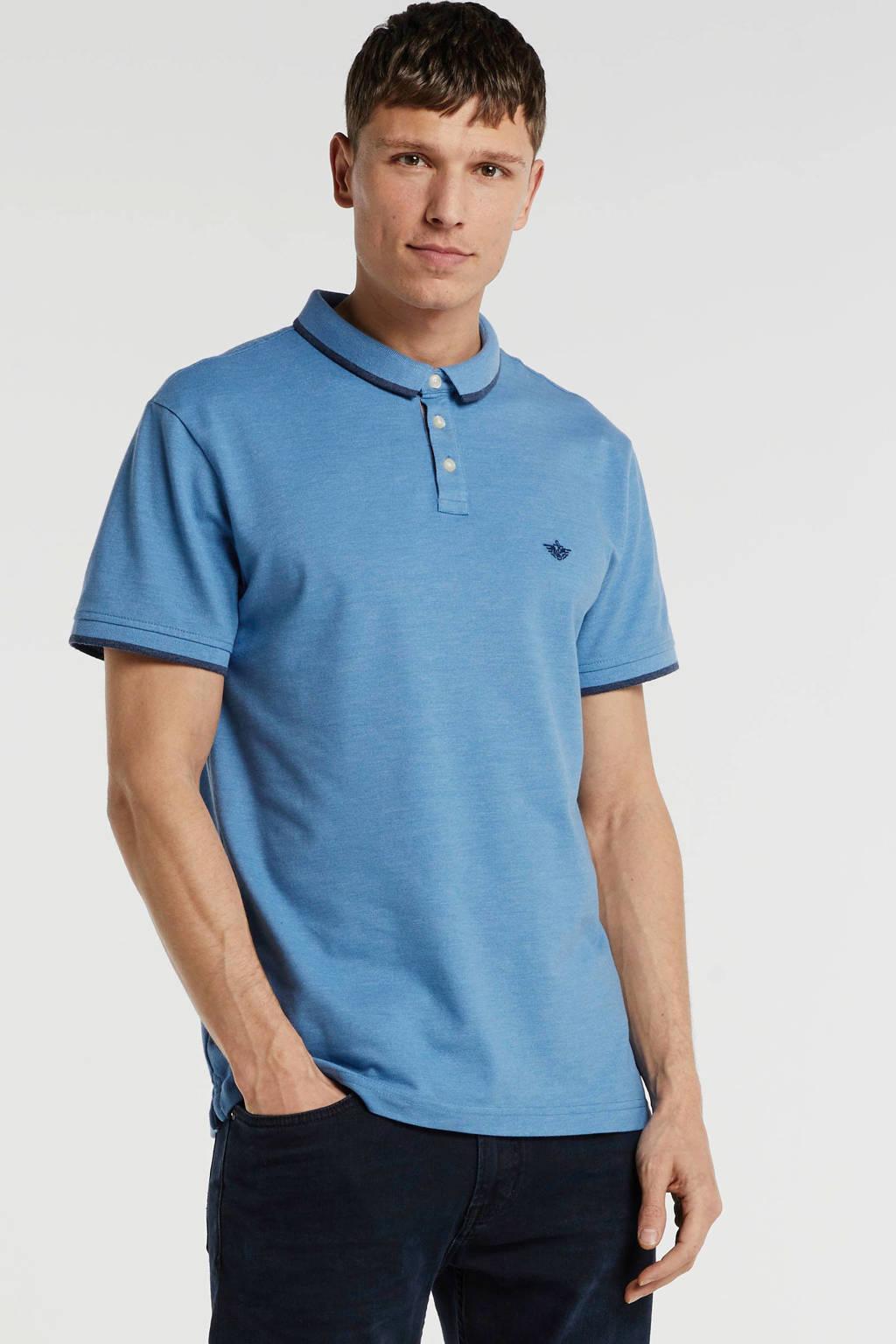 Dockers regular fit polo met logo lichtblauw, Lichtblauw