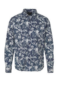 Cars regular fit overhemd met bladprint donkerblauw/wit, Donkerblauw/wit