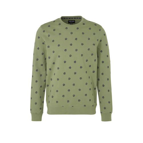 Cars sweater met bladprint groen