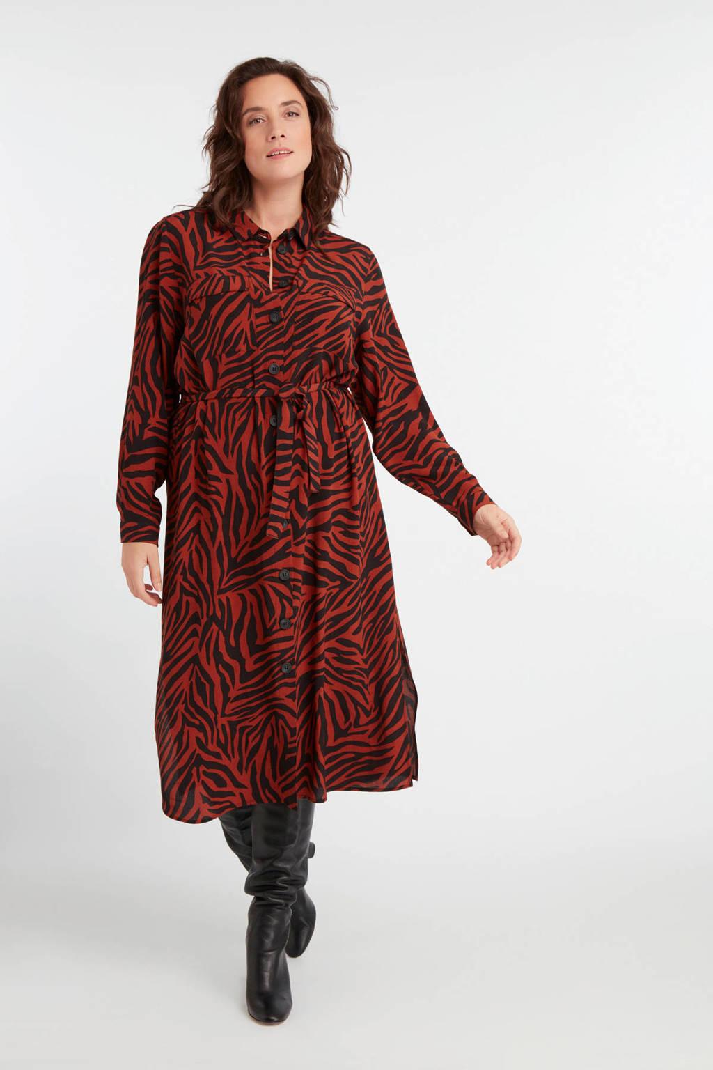 MS Mode blousejurk met zebraprint en ceintuur  rood/zwart,  Rood/zwart