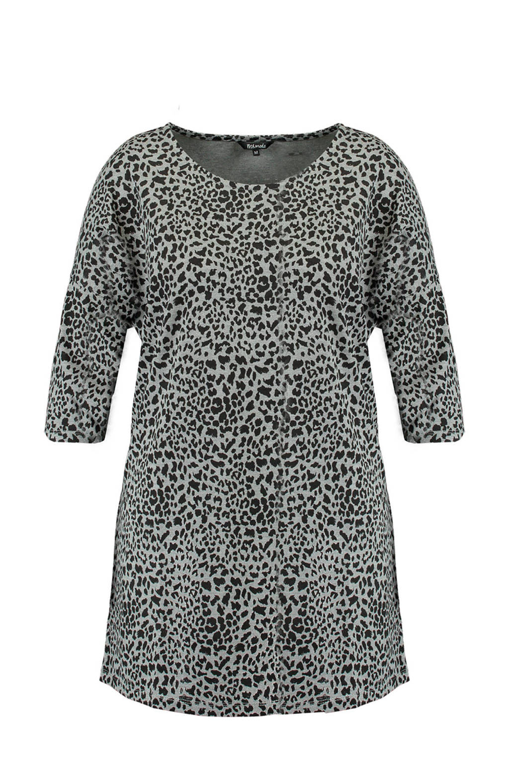 MS Mode T-shirt met panterprint grijs/zwart, Grijs/zwart