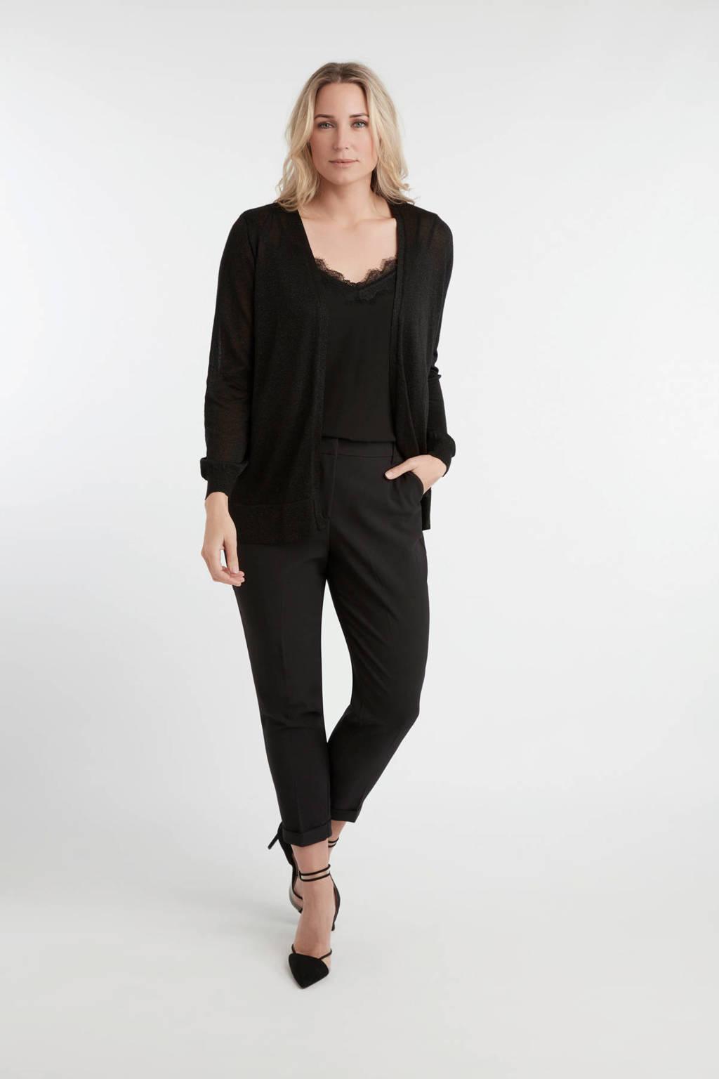 MS Mode vest met glitters zwart, Zwart