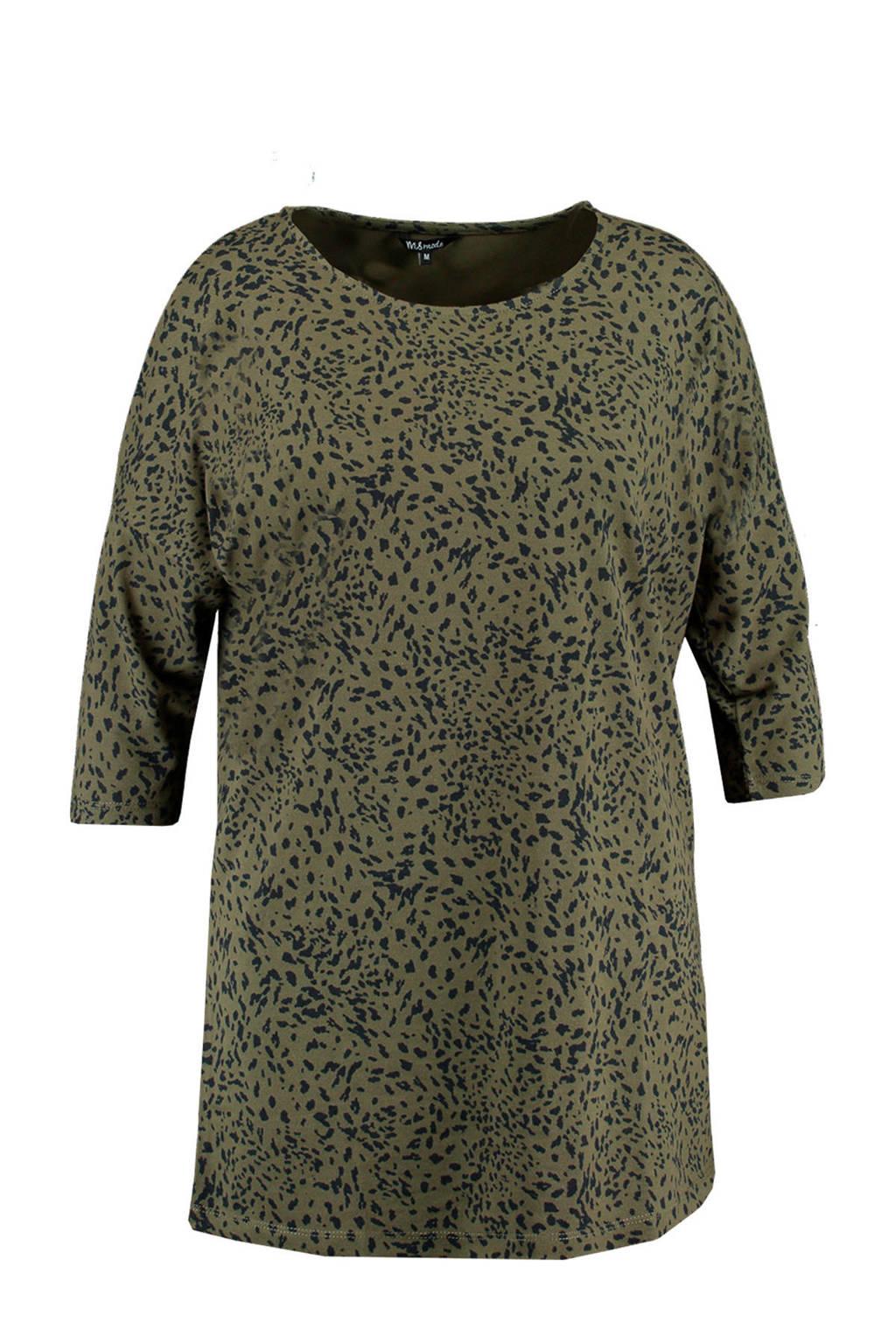 MS Mode T-shirt met all over print groen/zwart, Groen/zwart