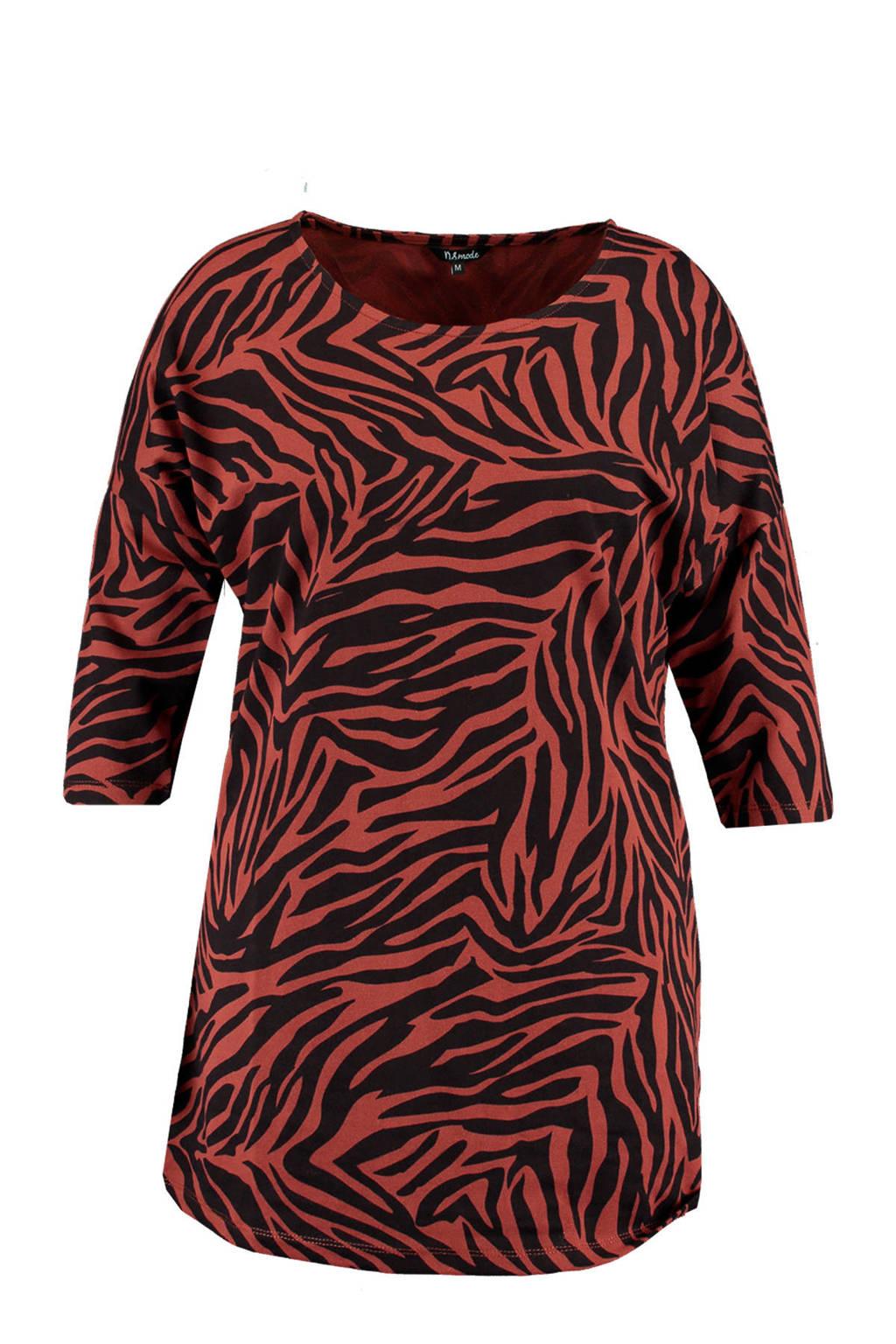 MS Mode T-shirt met zebraprint rood/zwart, Rood/zwart