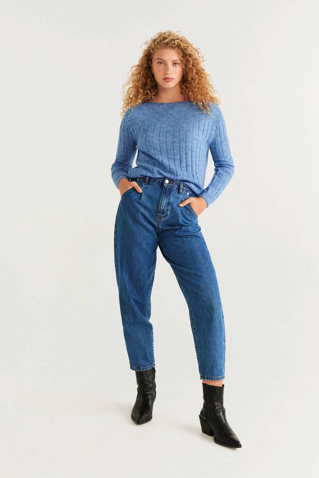 Mango ribgebreide trui met wol blauw, Blauw