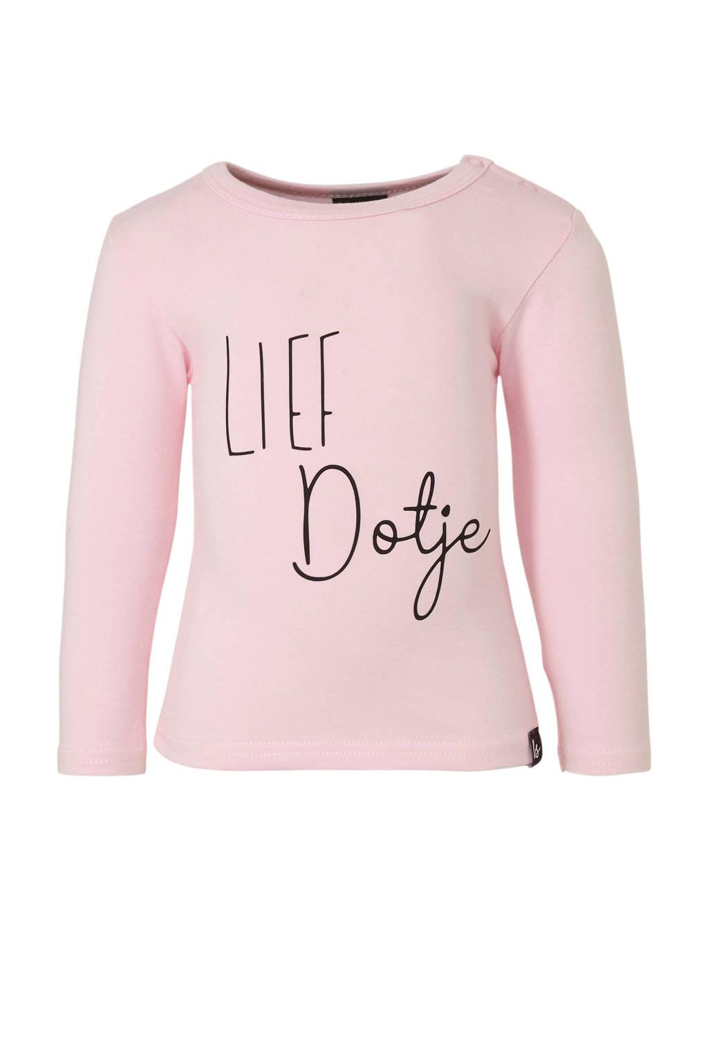Babystyling longsleeve met tekst roze, Roze