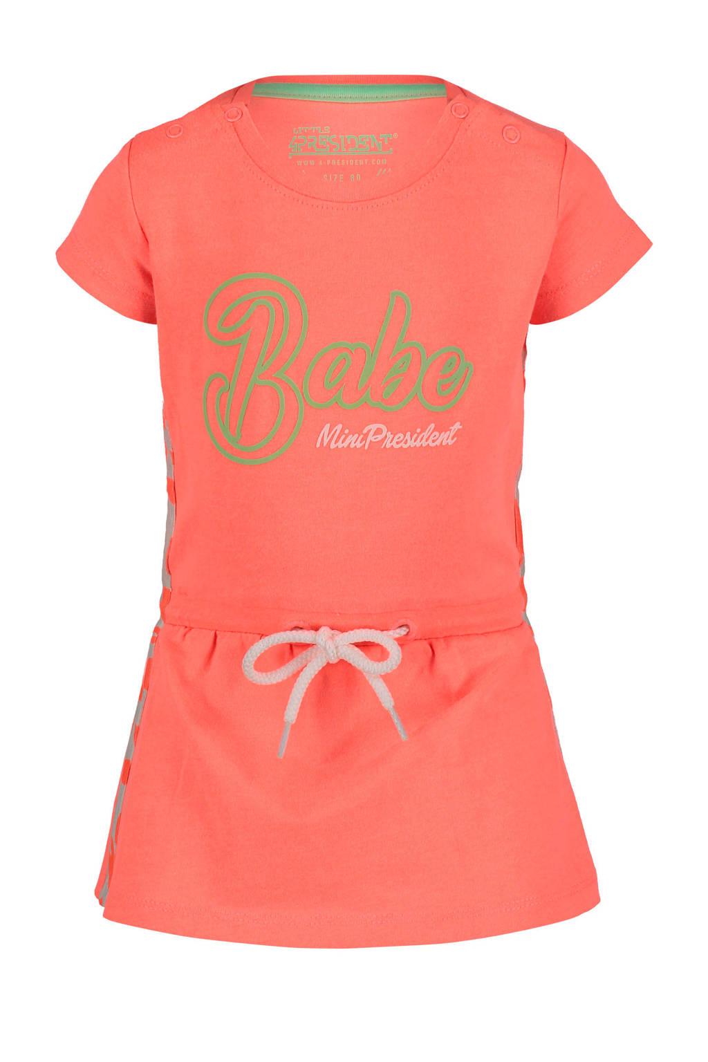 4PRESIDENT T-shirtjurk met tekst roze, Roze