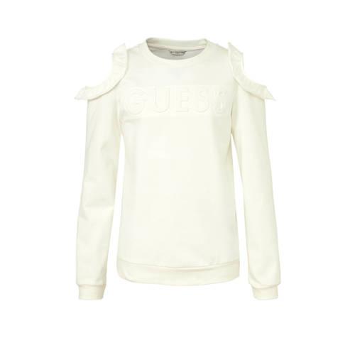 GUESS open shoulder sweater met logo en ruches off