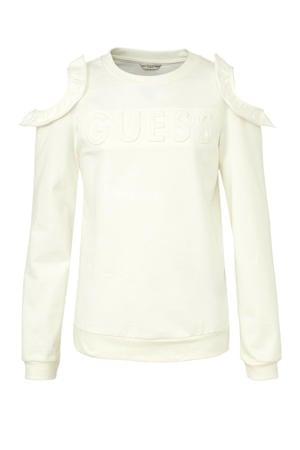 open shoulder sweater met logo en ruches offwhite
