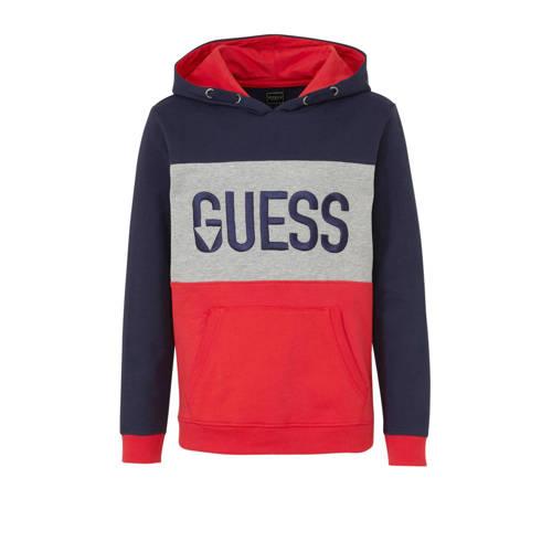 GUESS hoodie met logo en borduursels rood/donkerbl