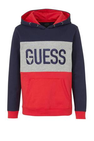 hoodie met logo en borduursels rood/donkerblauw/grijs