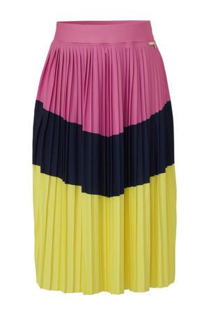 plissérok geel/donkerblauw/roze
