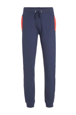 slim fit joggingbroek met zijstreep donkerblauw/rood/wit