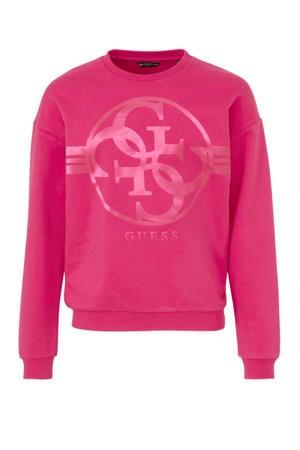 sweater met logo fel fuchsia