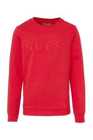sweater met tekst en borduursels rood