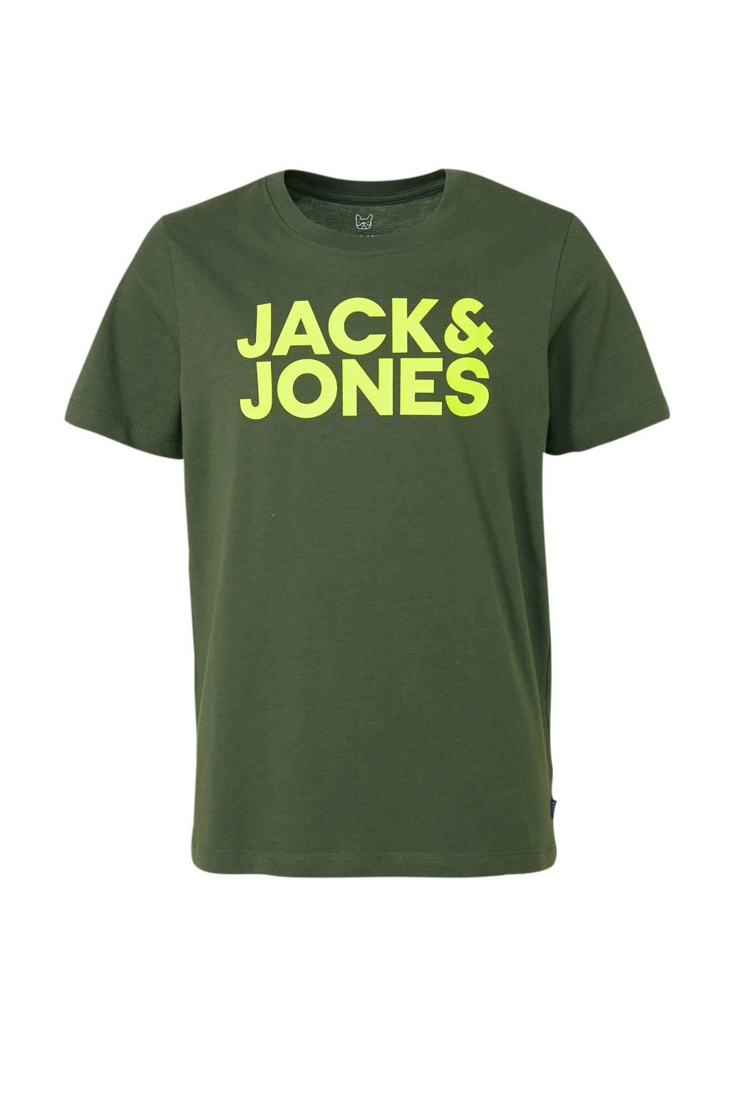 JACK & JONES JUNIOR T-shirt Dennis met logo kakigroen/ neon geel, Kakigroen/ neon geel