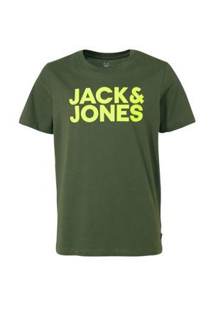 JUNIOR T-shirt Dennis met logo kakigroen/ neon geel