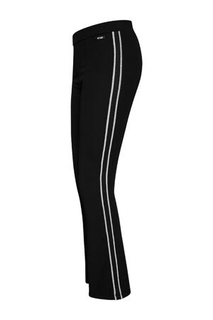flared legging Jozefien met zijstreep zwart
