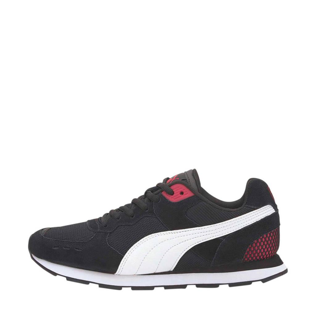 Puma Vista  suède sneakers zwart, Zwart/wit/rood