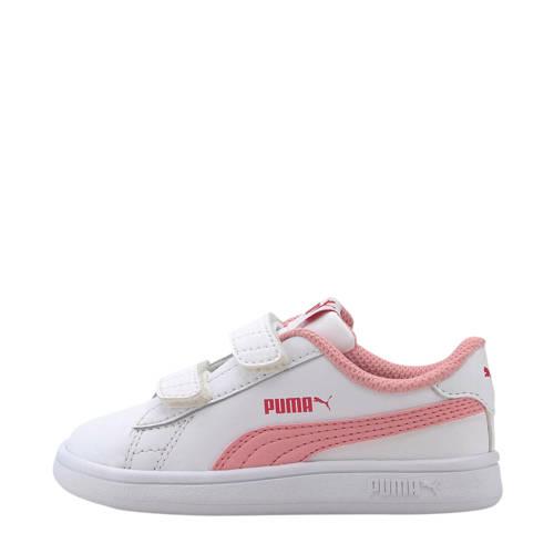 Puma Smash v2 L V Inf leren sneakers wit/roze
