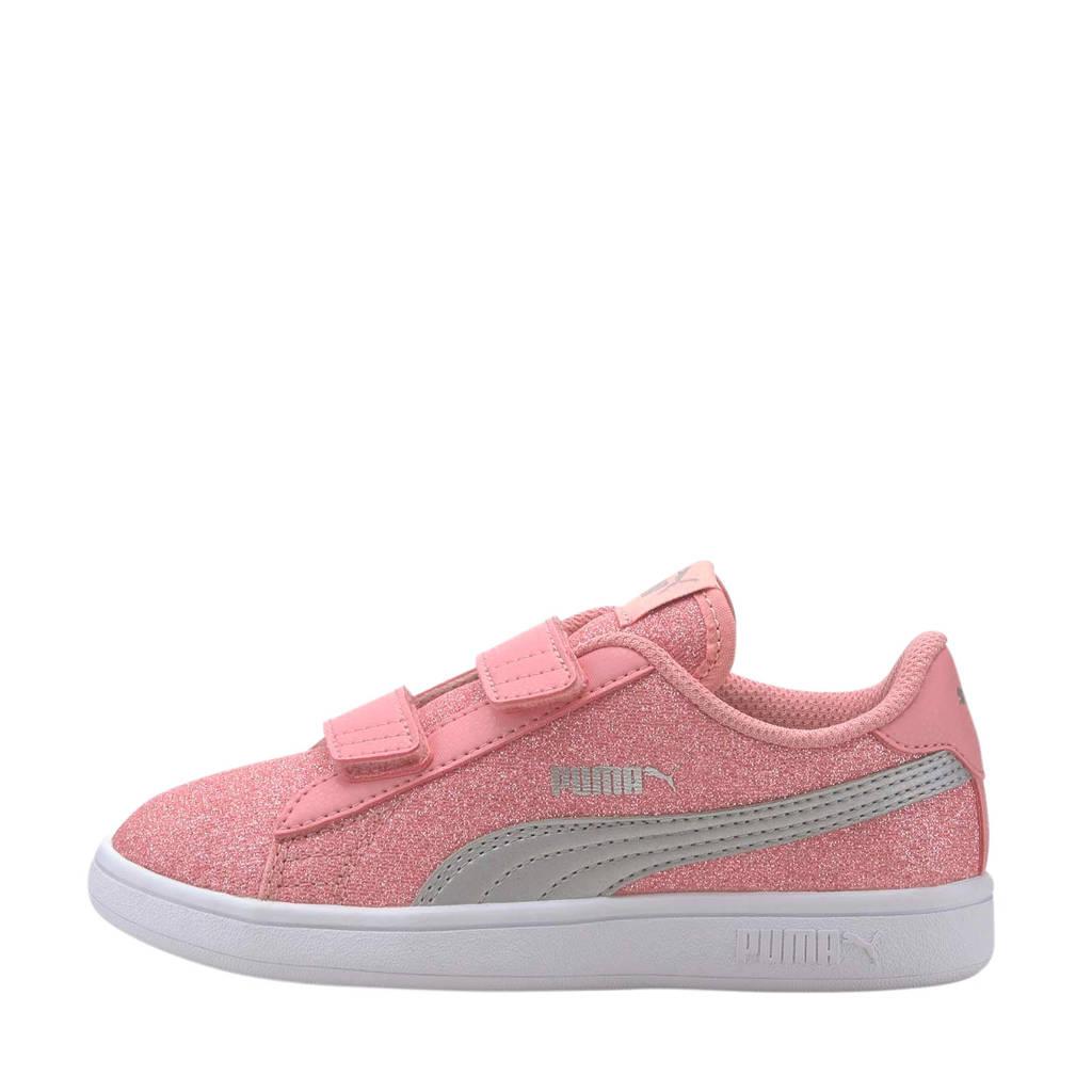 Puma Smash v2 Glitz Glam V PS sneakers roze/zilver, Roze/Zilver
