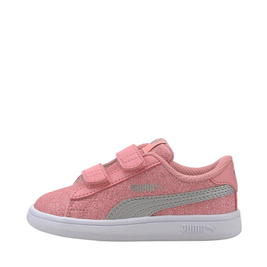 Puma Smash v2 Glitz Glam V Inf sneakers roze/zilver, Roze/Zilver