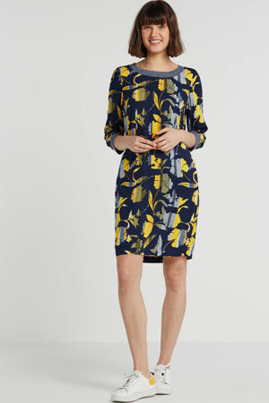 linnen jurk met all over print marine/geel