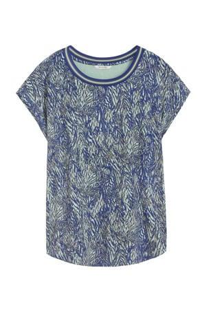 T-shirt met contrastbies blauw/multi