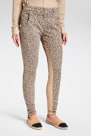 low waist skinny broek met panterprint camel