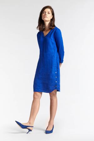 linnen A-lijn jurk blauw