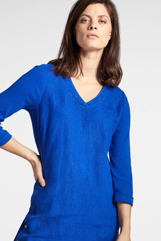 Sandwich linnen A-lijn jurk blauw, Blauw