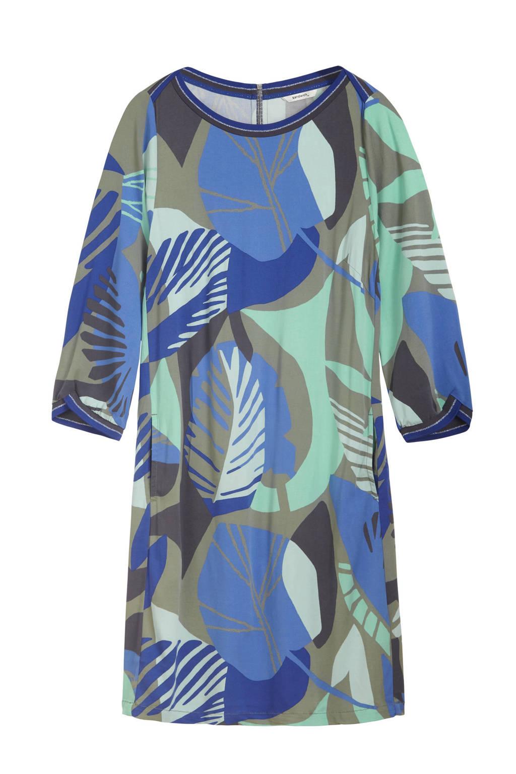 Sandwich jersey jurk met contrastbies blauw/multi, Blauw/multi