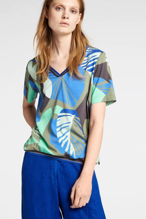 linnen top met contrastbies en contrastbies blauw/multi