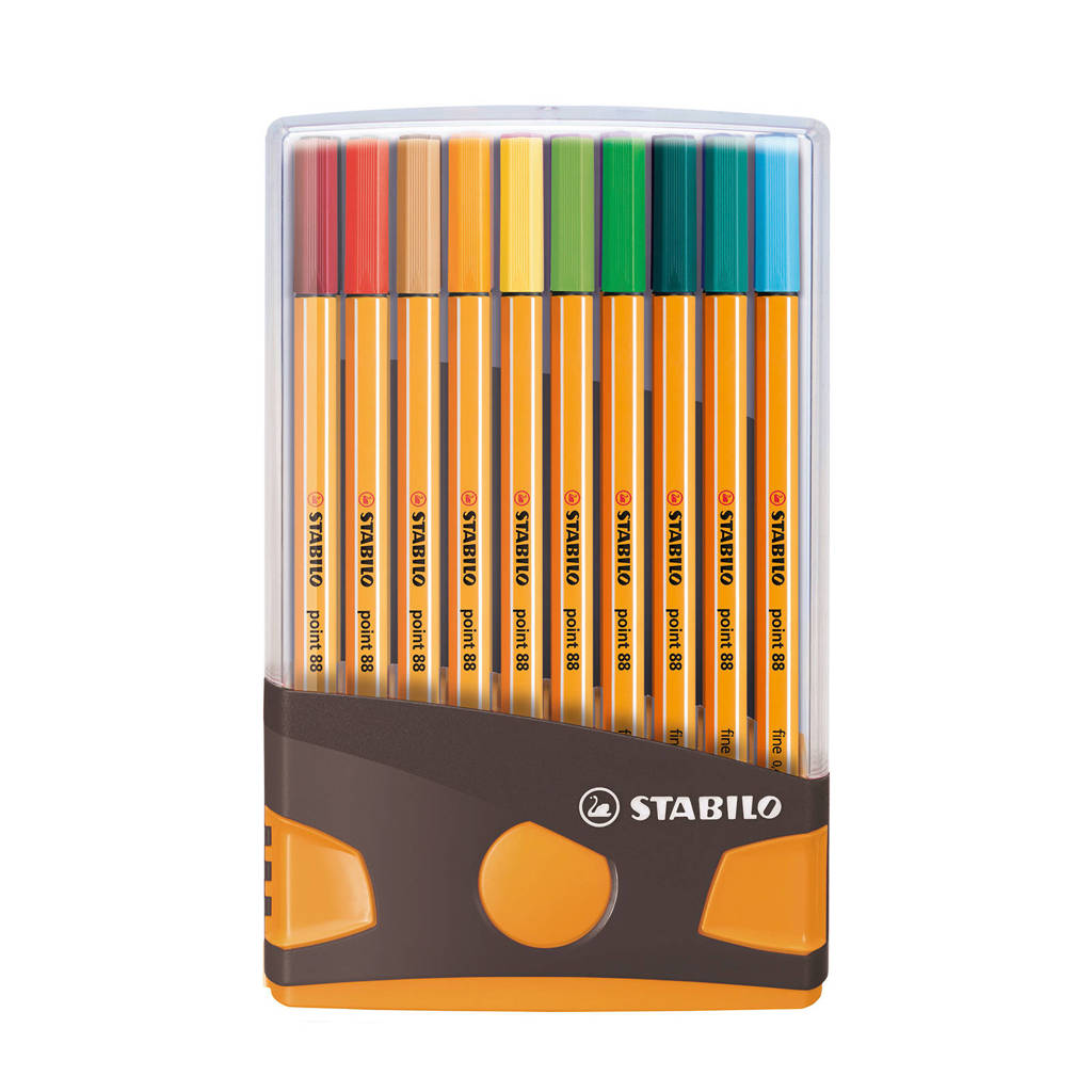 Stabilo point 88 ColorParade antraciet/oranje (20 st.), Multicolor