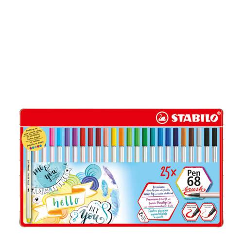 Stabilo Pen 68 brush metalen etui (25 st.)