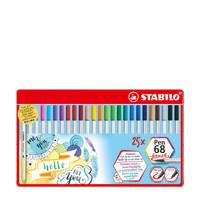 Stabilo Pen 68 brush metalen etui (25 st.), Multicolor