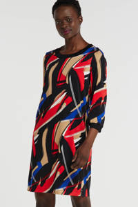 Sandwich jersey jurk met all over print rood/zwart/blauw, Rood/zwart/blauw