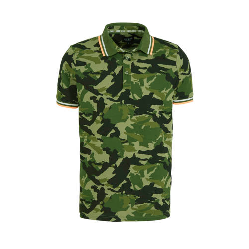 Cars slim fit polo met camouflageprint groen