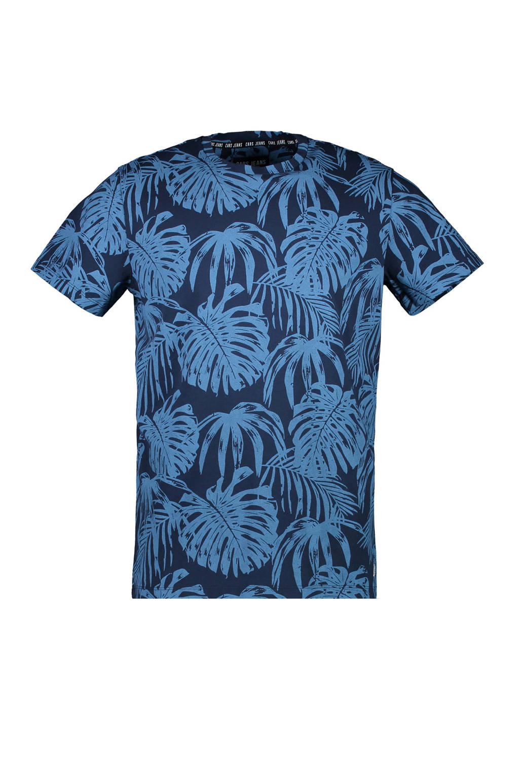 Cars T-shirt met bladprint blauw, Blauw