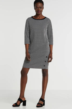 jersey jurk met all over print zwart/wit