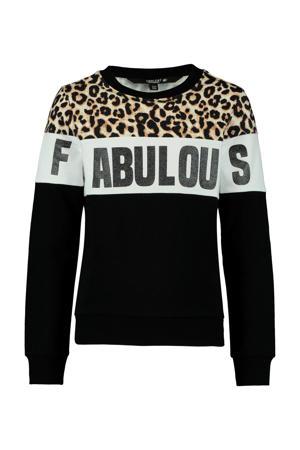 sweater Sanna met panterprint zwart/wit/bruin