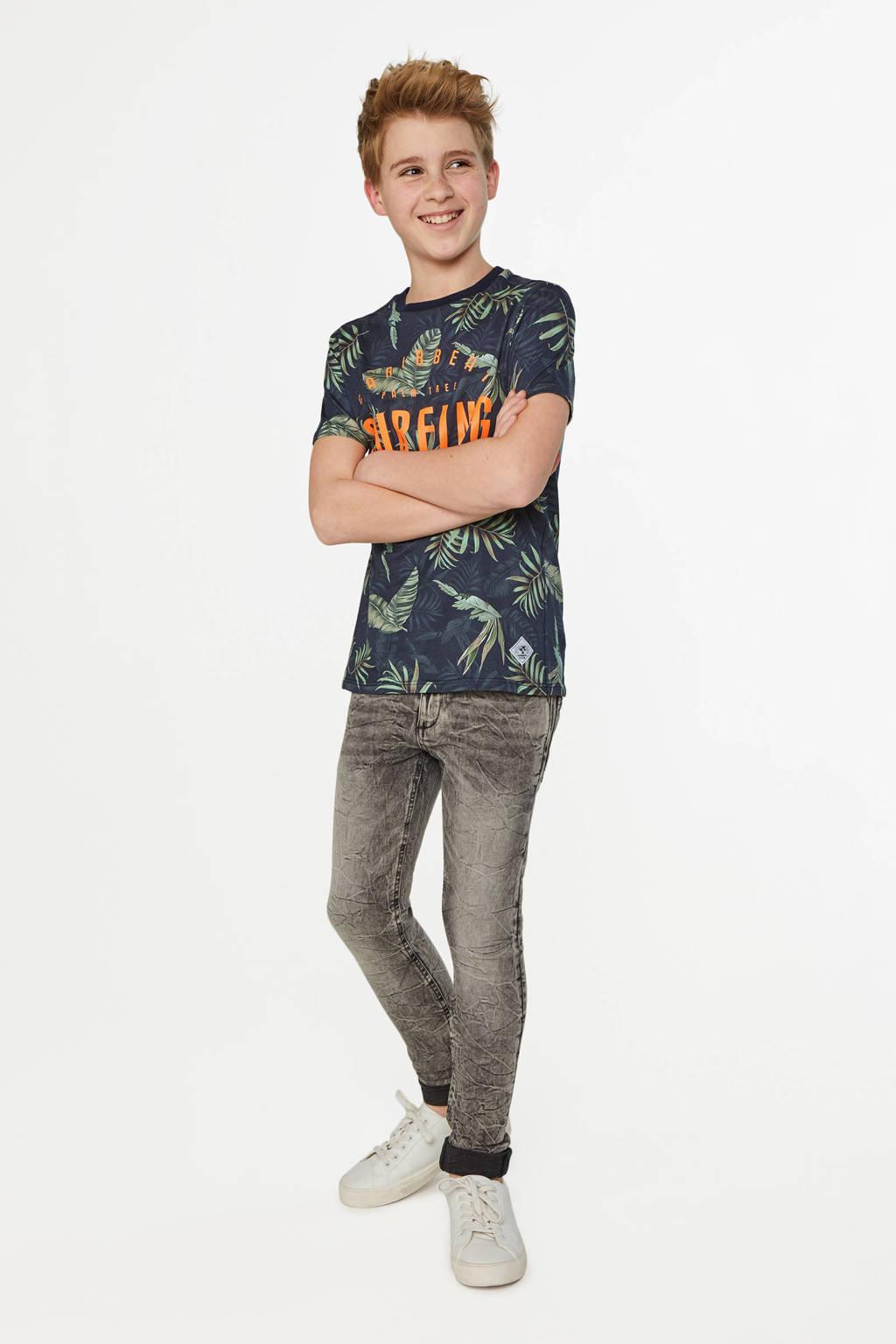 WE Fashion T-shirt met bladprint donkerblauw/groen, Donkerblauw/groen