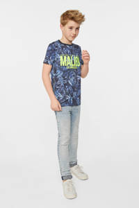 WE Fashion T-shirt met bladprint donkerblauw/blauw, Donkerblauw/blauw