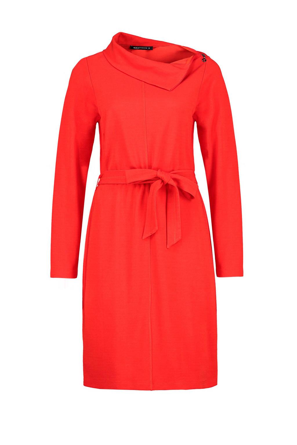 Expresso jurk met ceintuur rood, Rood
